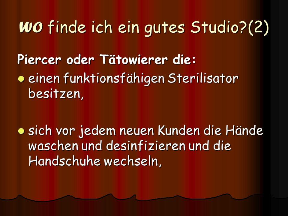 WO finde ich ein gutes Studio (2)