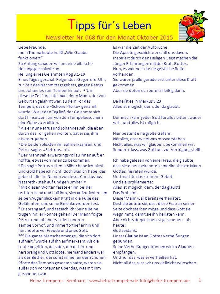 Tipps für´s Leben Newsletter Nr. 068 für den Monat Oktober 2015