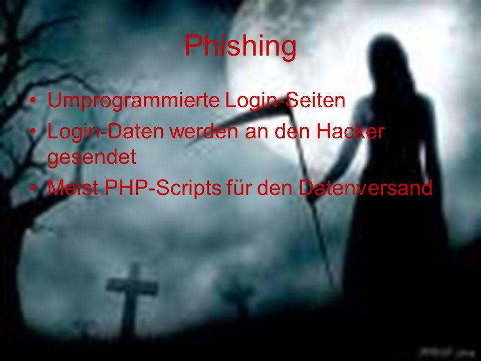 Phishing Umprogrammierte Login-Seiten