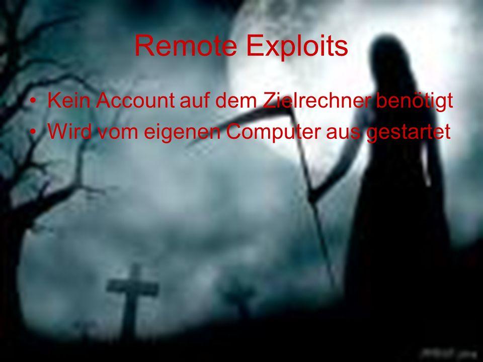 Remote Exploits Kein Account auf dem Zielrechner benötigt