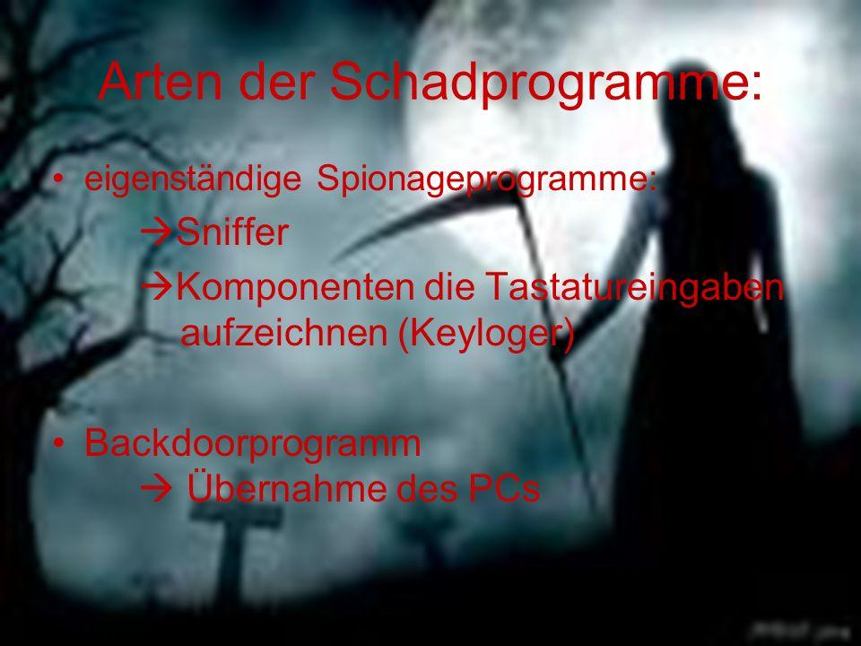 Arten der Schadprogramme: