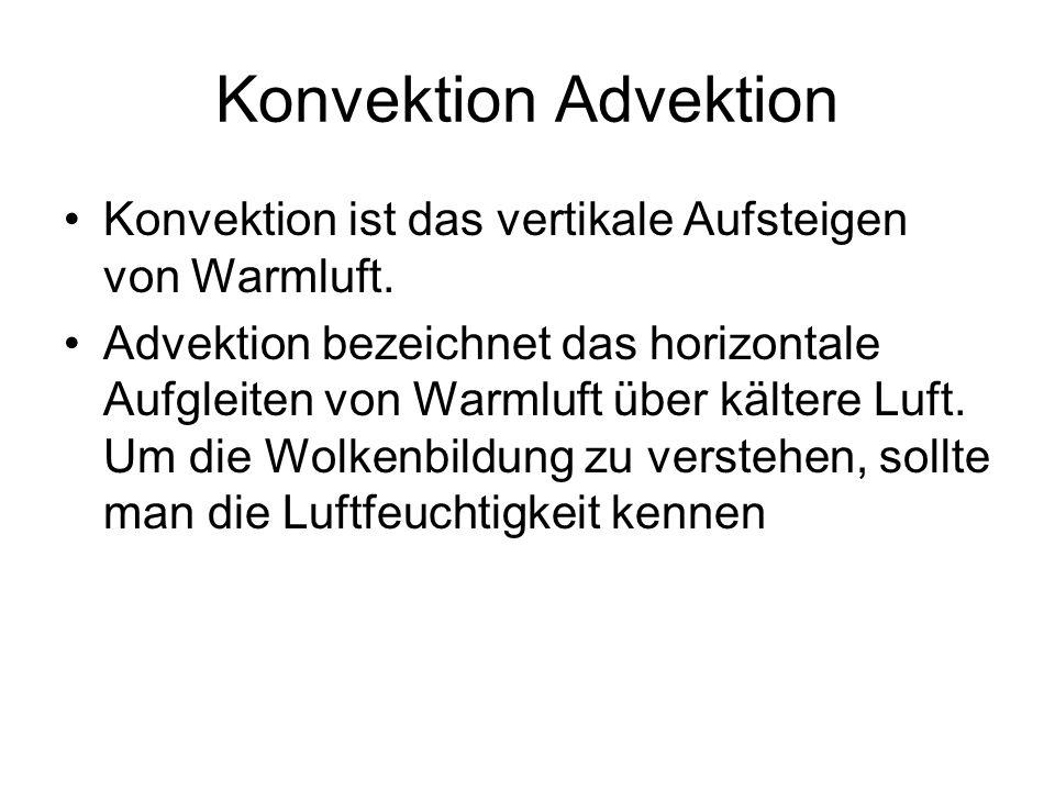 Konvektion Advektion Konvektion ist das vertikale Aufsteigen von Warmluft.