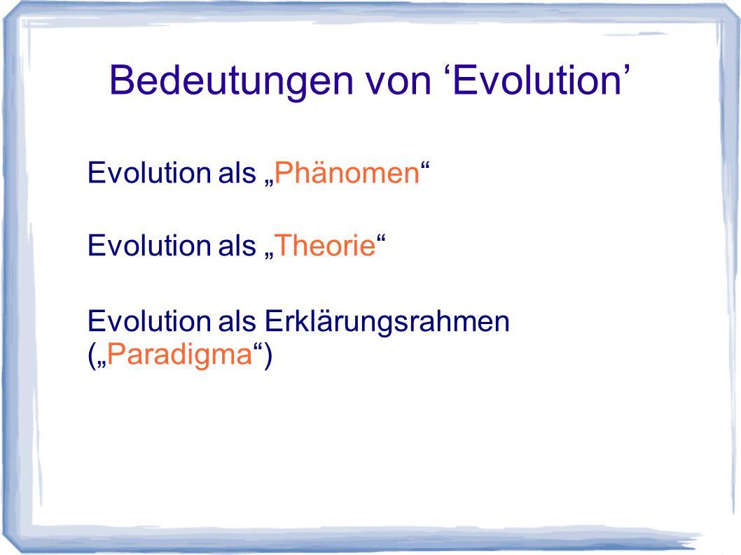 Bedeutungen von 'Evolution'