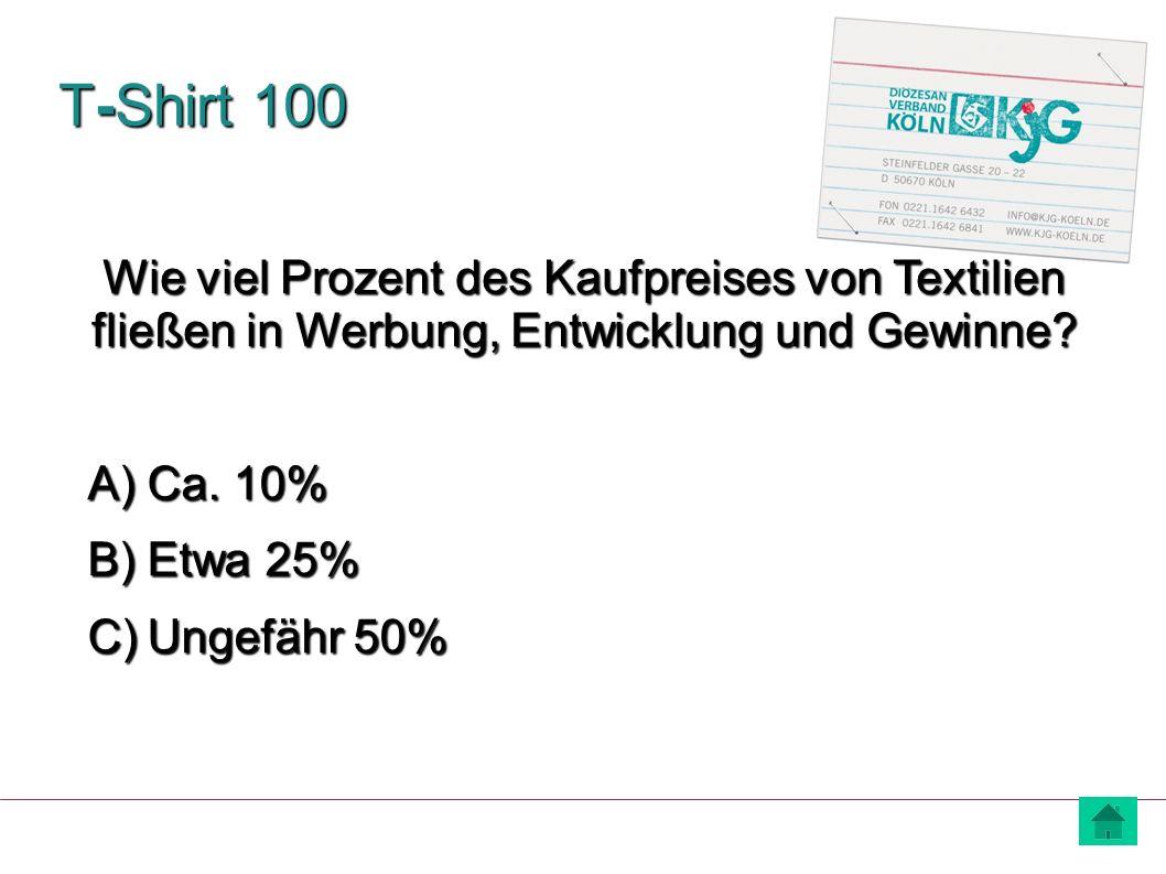 T-Shirt 100 Wie viel Prozent des Kaufpreises von Textilien fließen in Werbung, Entwicklung und Gewinne
