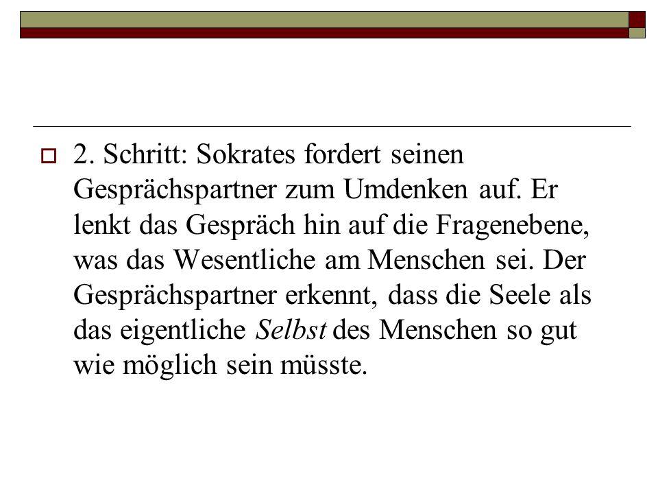 2. Schritt: Sokrates fordert seinen Gesprächspartner zum Umdenken auf