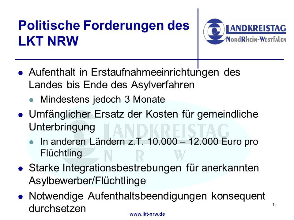 Politische Forderungen des LKT NRW