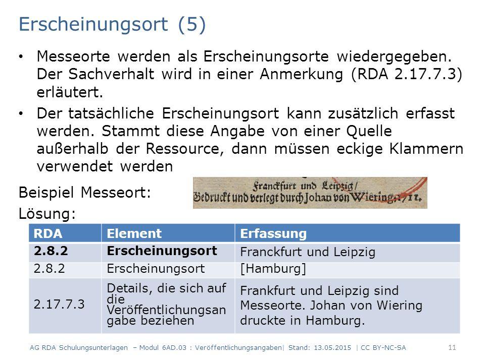 Erscheinungsort (5) Messeorte werden als Erscheinungsorte wiedergegeben. Der Sachverhalt wird in einer Anmerkung (RDA 2.17.7.3) erläutert.