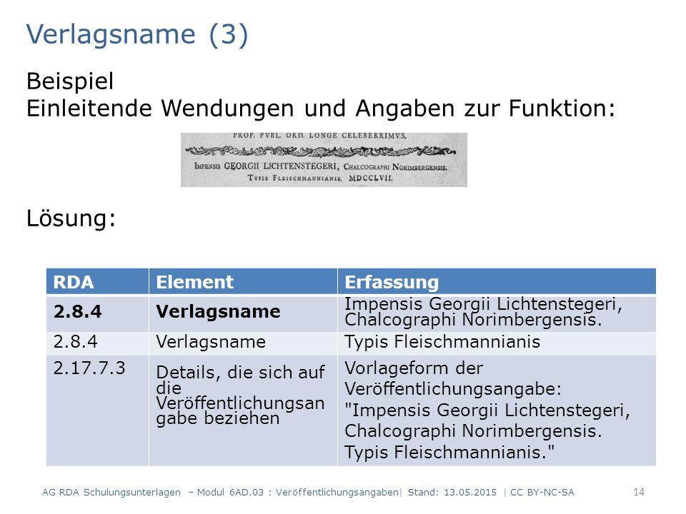 Verlagsname (3) Beispiel Einleitende Wendungen und Angaben zur Funktion: Lösung: RDA. Element. Erfassung.