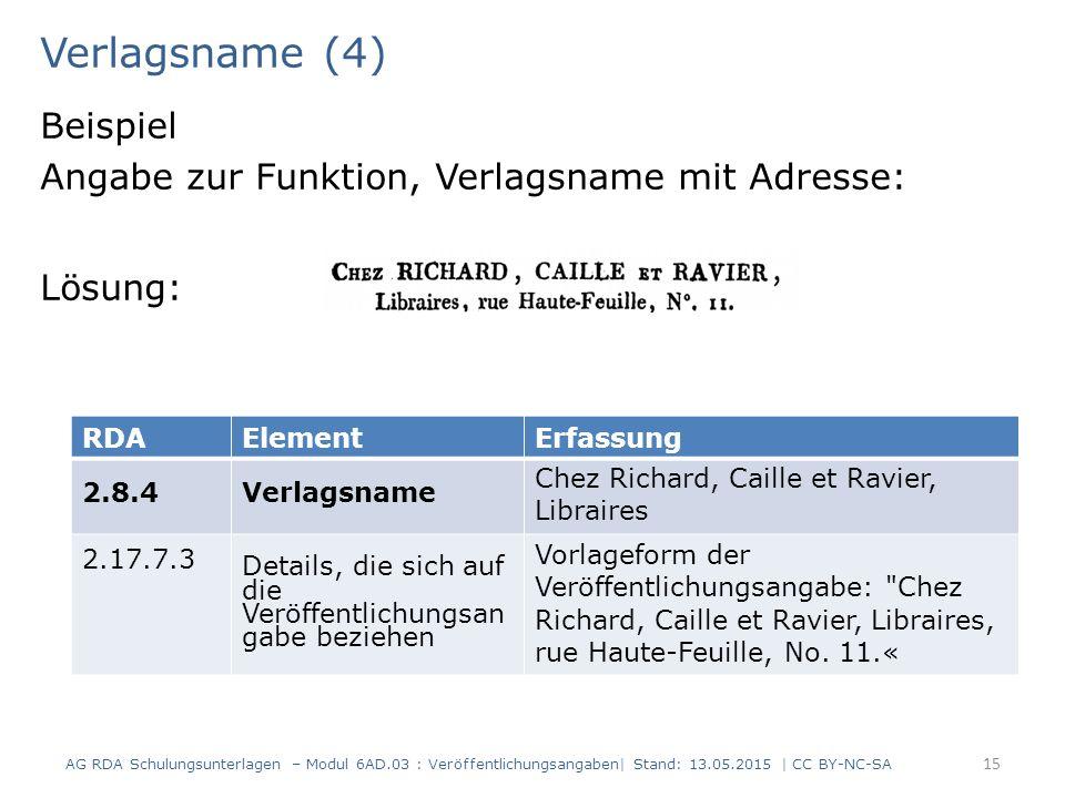 Verlagsname (4) Beispiel Angabe zur Funktion, Verlagsname mit Adresse: