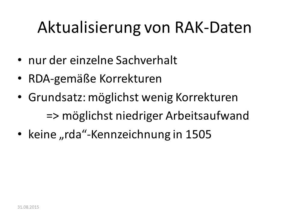 Aktualisierung von RAK-Daten
