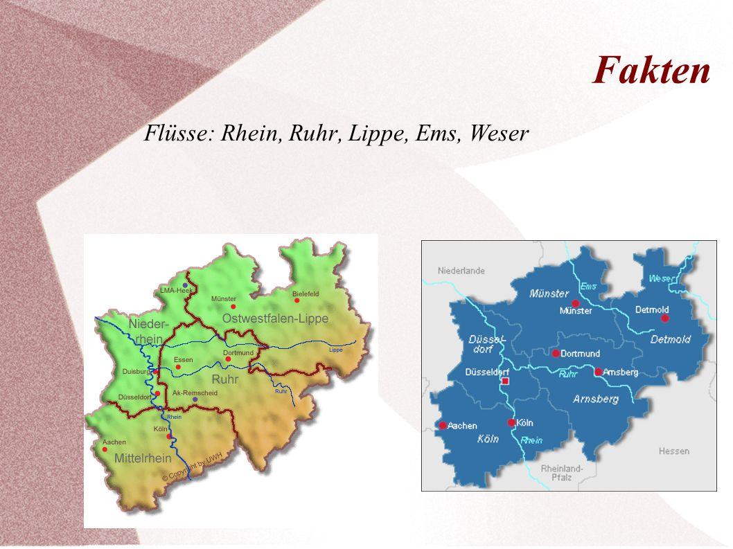 Fakten Flüsse: Rhein, Ruhr, Lippe, Ems, Weser