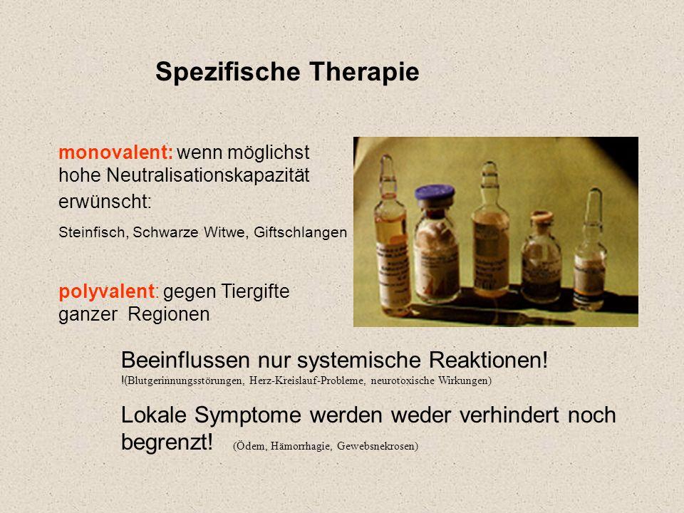 Spezifische Therapie monovalent: wenn möglichst hohe Neutralisationskapazität erwünscht: Steinfisch, Schwarze Witwe, Giftschlangen.