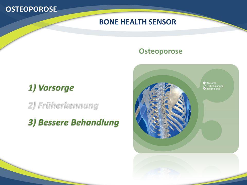 1) Vorsorge 2) Früherkennung 3) Bessere Behandlung OSTEOPOROSE