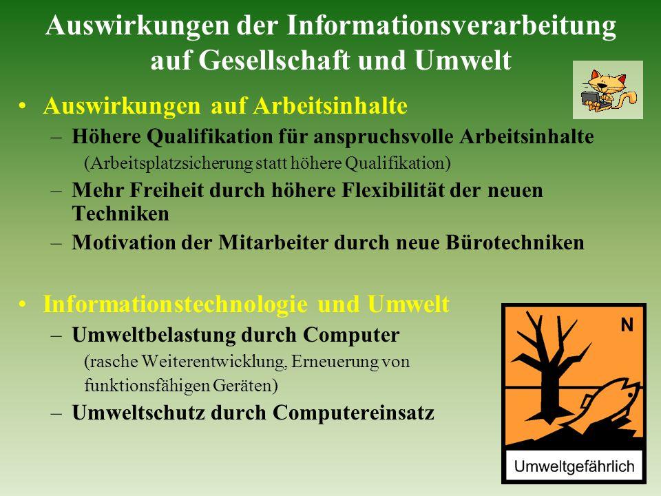 Auswirkungen der Informationsverarbeitung auf Gesellschaft und Umwelt