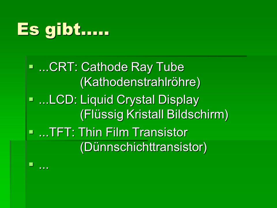 Es gibt..... ...CRT: Cathode Ray Tube (Kathodenstrahlröhre)