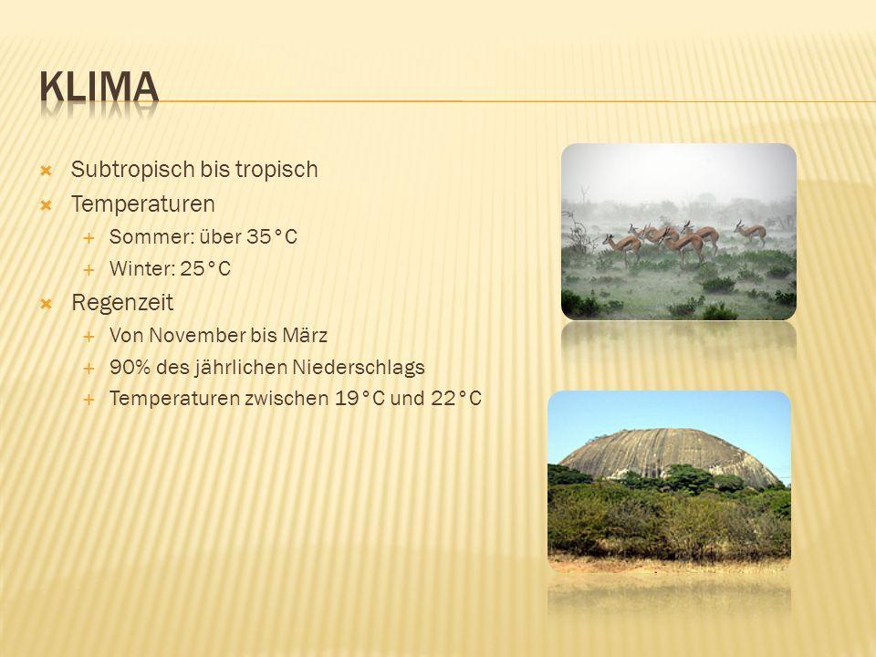 Klima Subtropisch bis tropisch Temperaturen Regenzeit