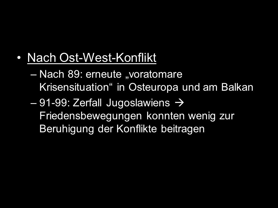 Nach Ost-West-Konflikt