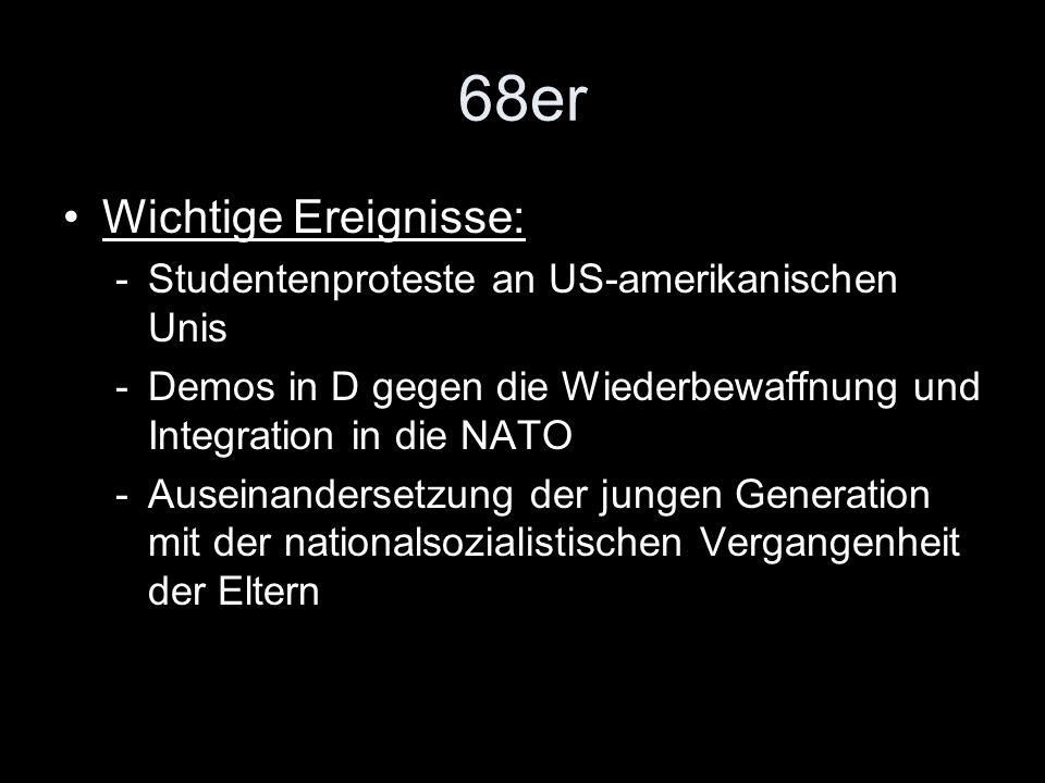 68er Wichtige Ereignisse: Studentenproteste an US-amerikanischen Unis
