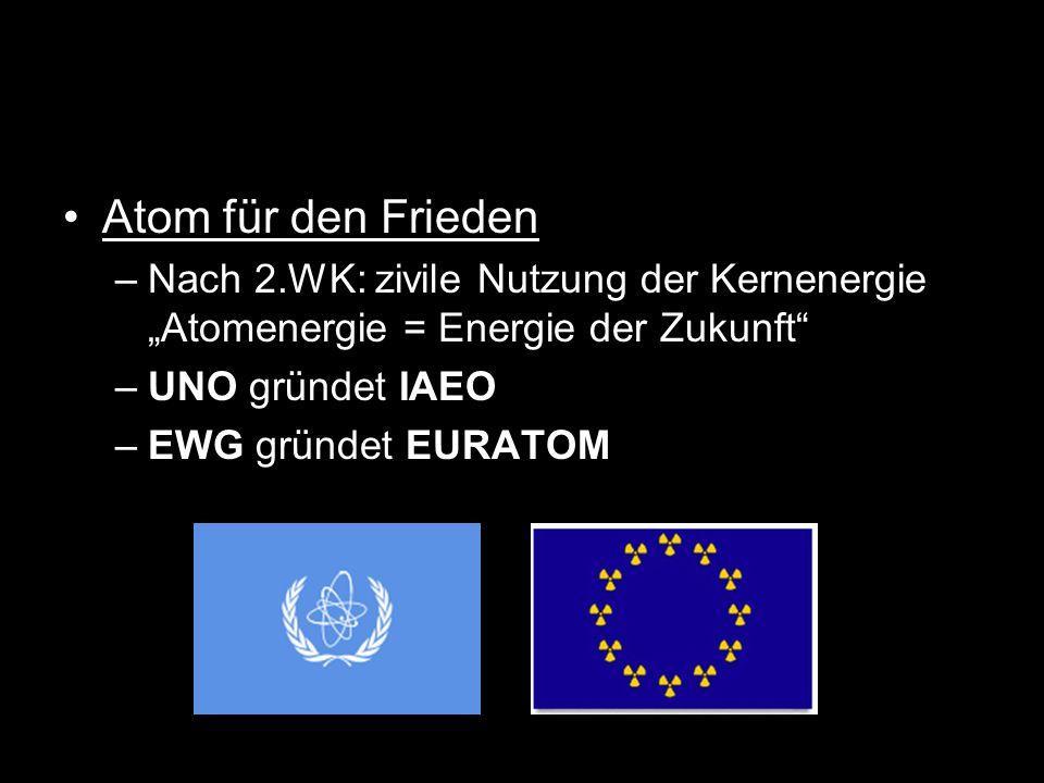 """Atom für den Frieden Nach 2.WK: zivile Nutzung der Kernenergie """"Atomenergie = Energie der Zukunft UNO gründet IAEO."""