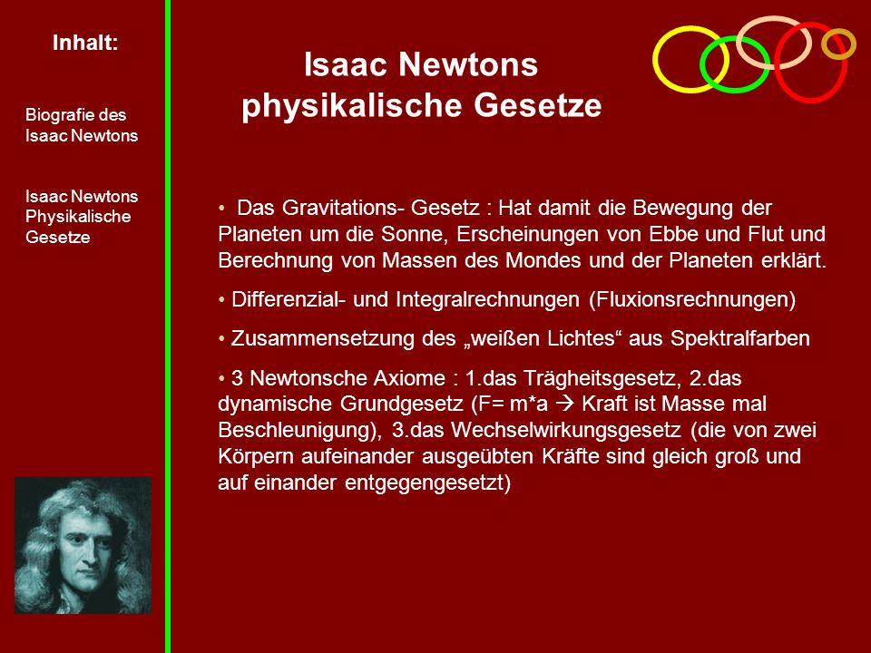Isaac Newtons physikalische Gesetze