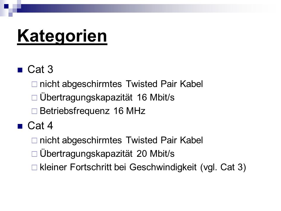 Kategorien Cat 3 Cat 4 nicht abgeschirmtes Twisted Pair Kabel