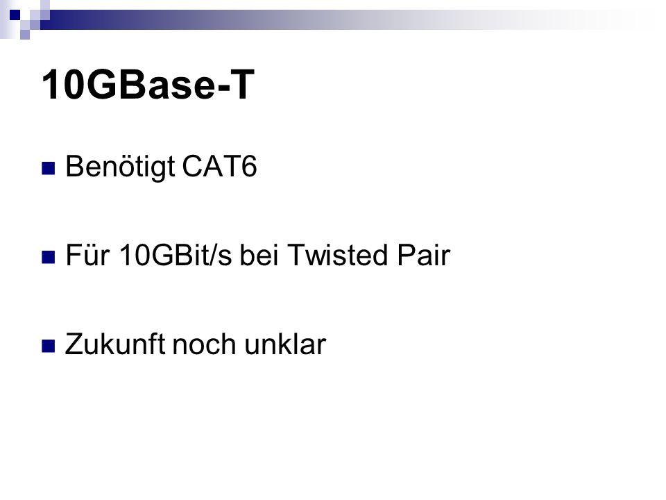 10GBase-T Benötigt CAT6 Für 10GBit/s bei Twisted Pair