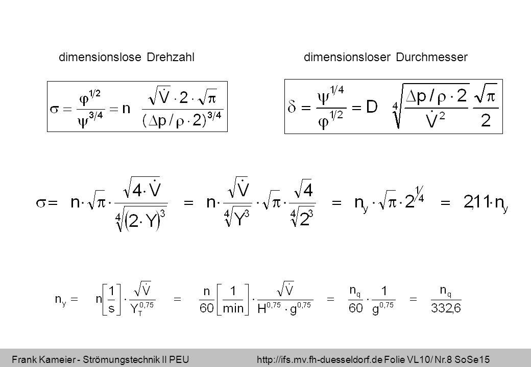 dimensionslose Drehzahl dimensionsloser Durchmesser