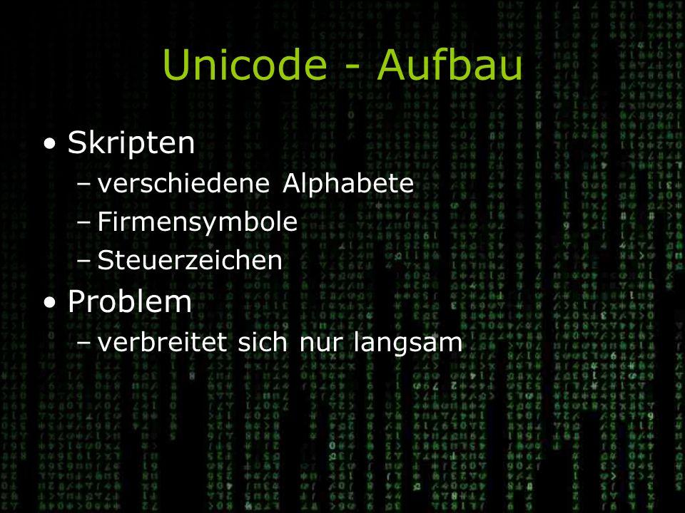 Unicode - Aufbau Skripten Problem verschiedene Alphabete Firmensymbole