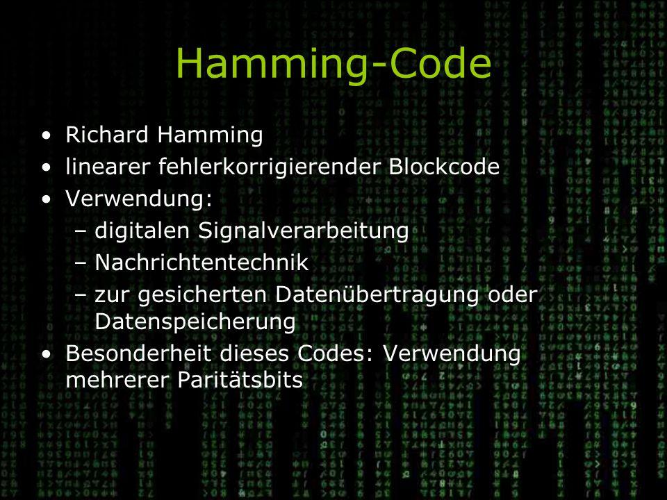 Hamming-Code Richard Hamming linearer fehlerkorrigierender Blockcode