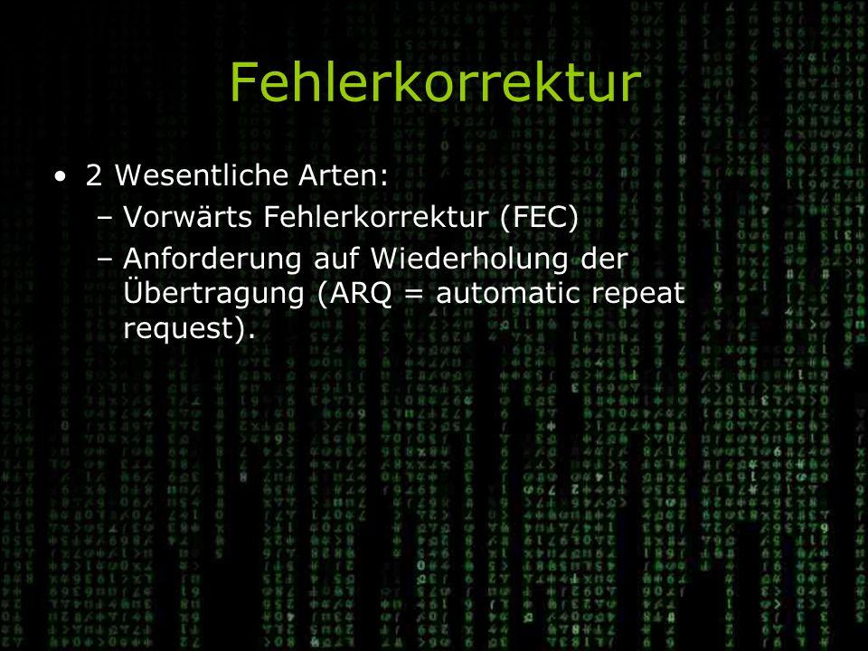 Fehlerkorrektur 2 Wesentliche Arten: Vorwärts Fehlerkorrektur (FEC)