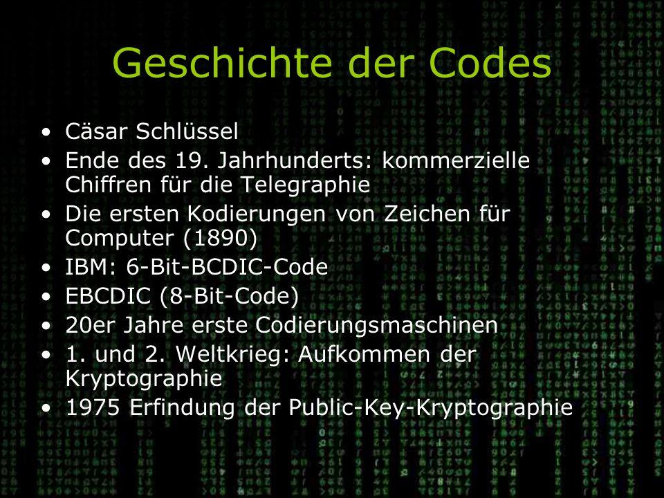 Geschichte der Codes Cäsar Schlüssel
