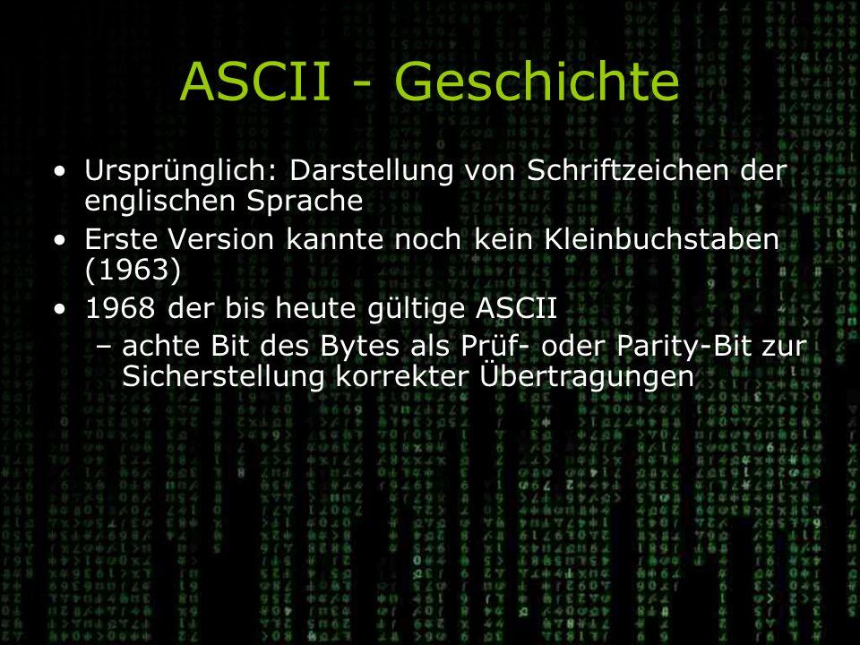 ASCII - Geschichte Ursprünglich: Darstellung von Schriftzeichen der englischen Sprache. Erste Version kannte noch kein Kleinbuchstaben (1963)