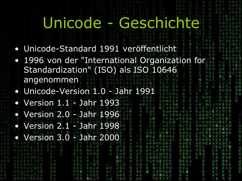 Unicode - Geschichte Unicode-Standard 1991 veröffentlicht
