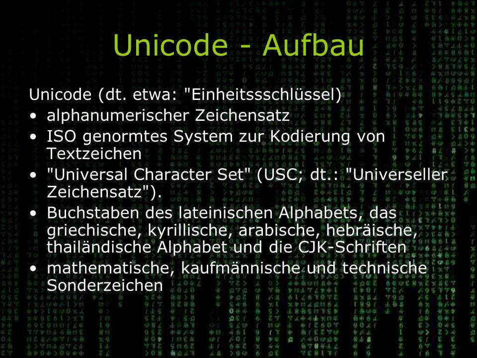 Unicode - Aufbau Unicode (dt. etwa: Einheitssschlüssel)