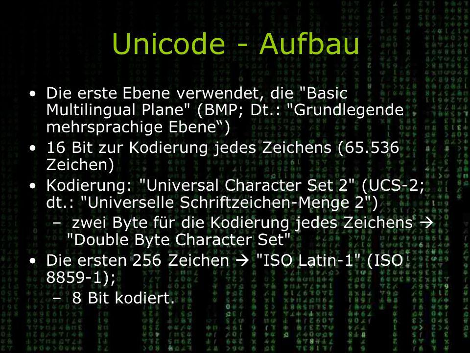 Unicode - Aufbau Die erste Ebene verwendet, die Basic Multilingual Plane (BMP; Dt.: Grundlegende mehrsprachige Ebene )