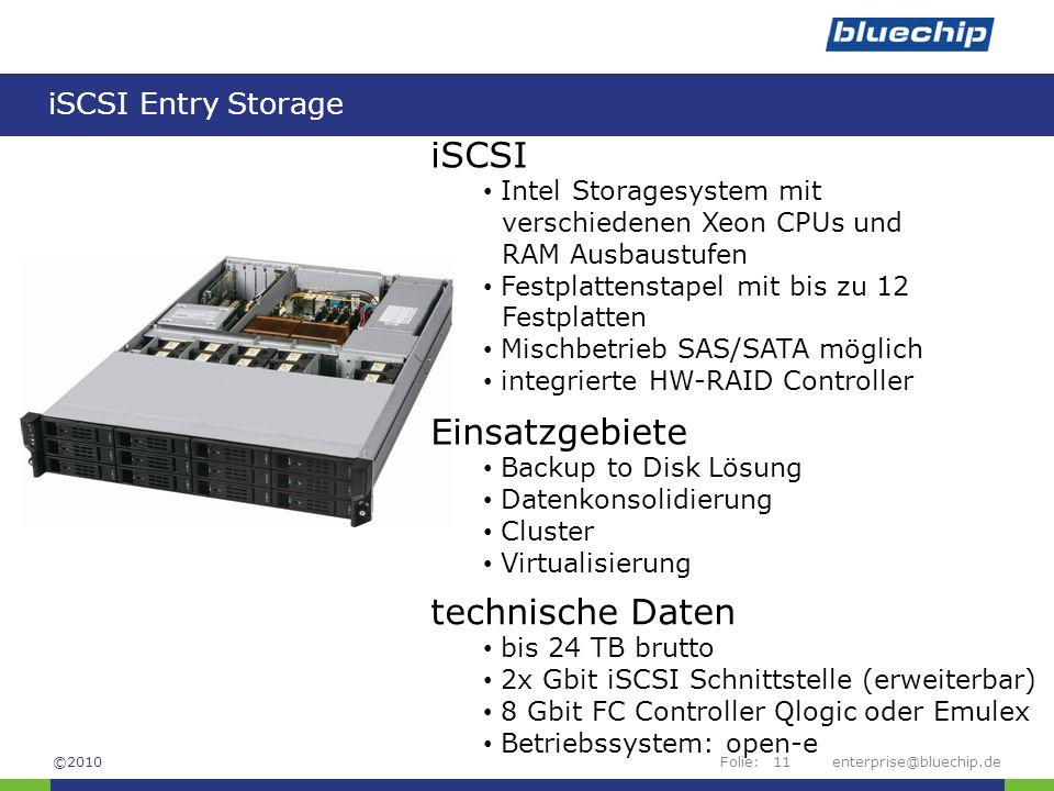 iSCSI Einsatzgebiete technische Daten iSCSI Entry Storage