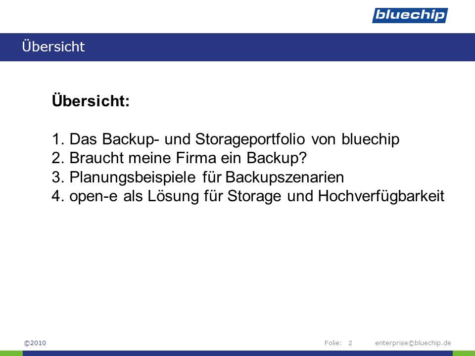 Das Backup- und Storageportfolio von bluechip