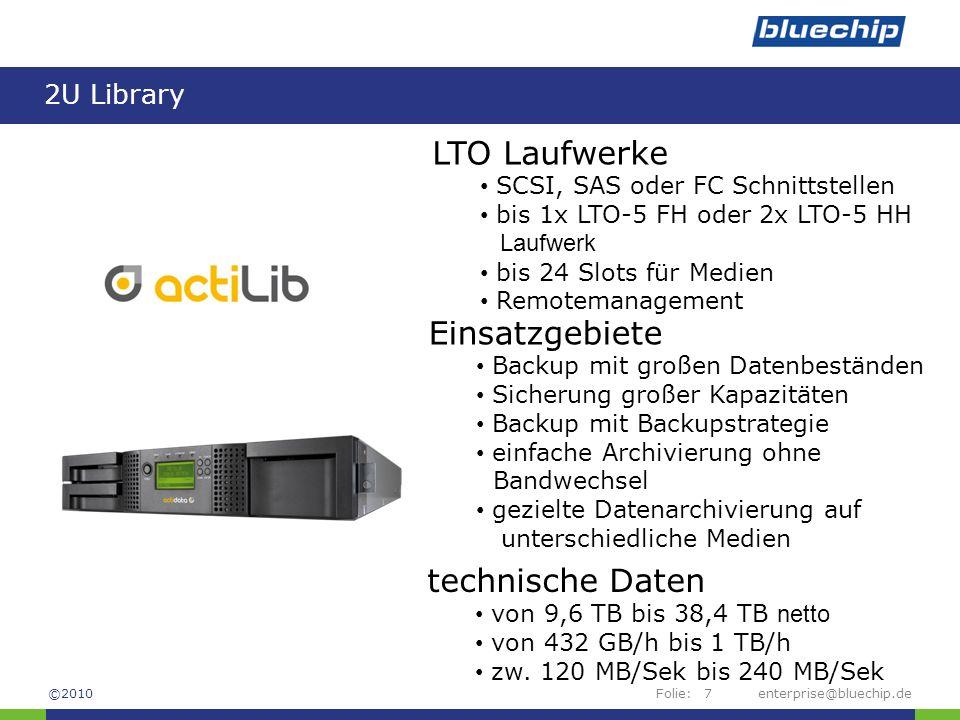 LTO Laufwerke Einsatzgebiete technische Daten 2U Library