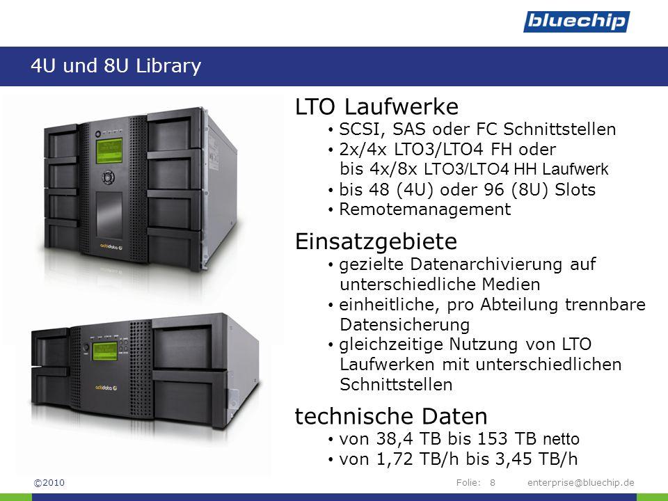 LTO Laufwerke Einsatzgebiete technische Daten 4U und 8U Library