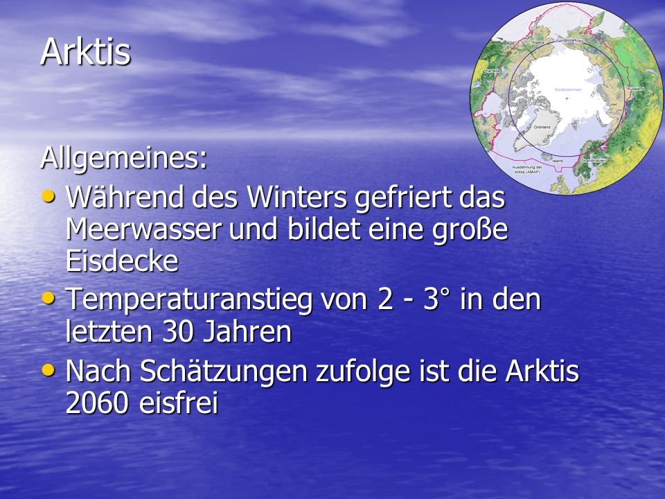 Arktis Allgemeines: Während des Winters gefriert das Meerwasser und bildet eine große Eisdecke.