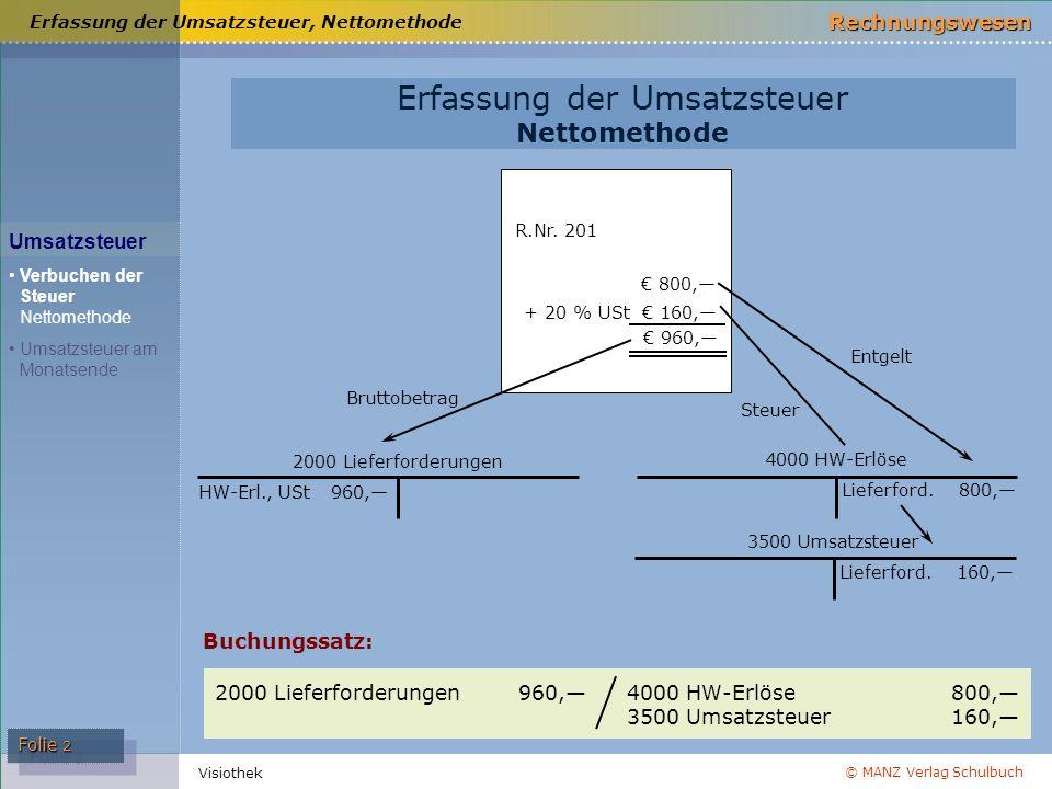 Erfassung der Umsatzsteuer, Nettomethode