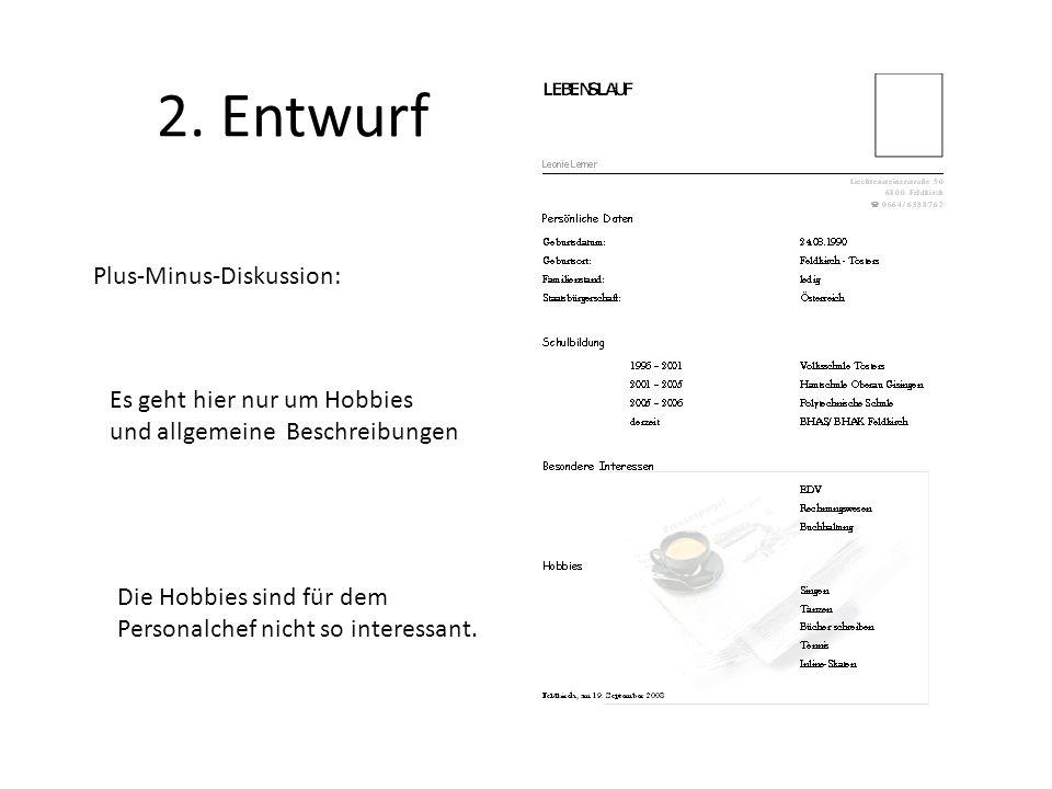 2. Entwurf Plus-Minus-Diskussion: