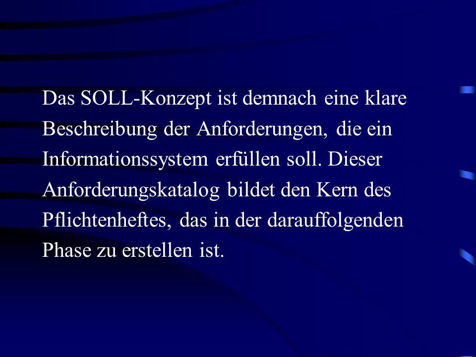 Das SOLL-Konzept ist demnach eine klare Beschreibung der Anforderungen, die ein Informationssystem erfüllen soll. Dieser Anforderungskatalog bildet den Kern des Pflichtenheftes, das in der darauffolgenden Phase zu erstellen ist.