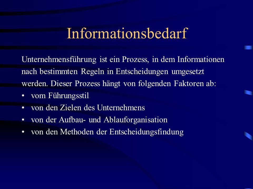 Informationsbedarf Unternehmensführung ist ein Prozess, in dem Informationen. nach bestimmten Regeln in Entscheidungen umgesetzt.