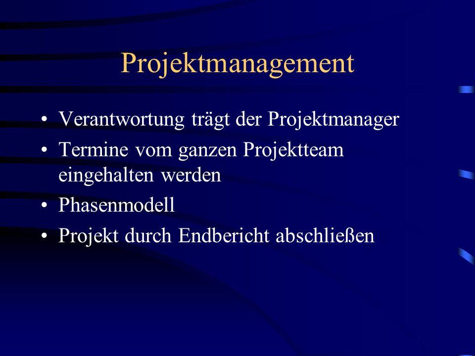 Projektmanagement Verantwortung trägt der Projektmanager