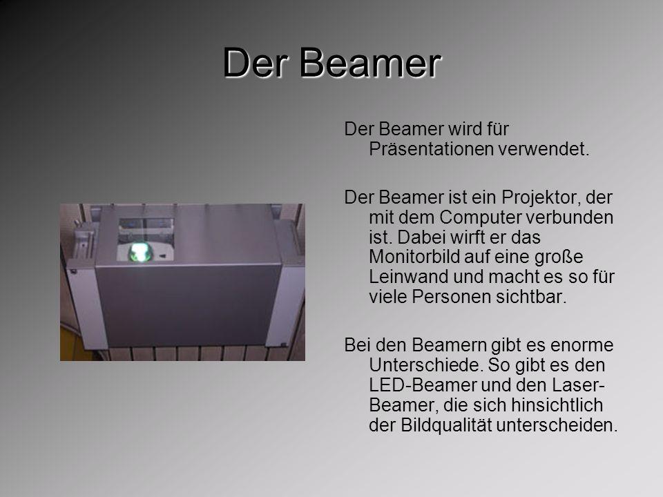 Der Beamer Der Beamer wird für Präsentationen verwendet.