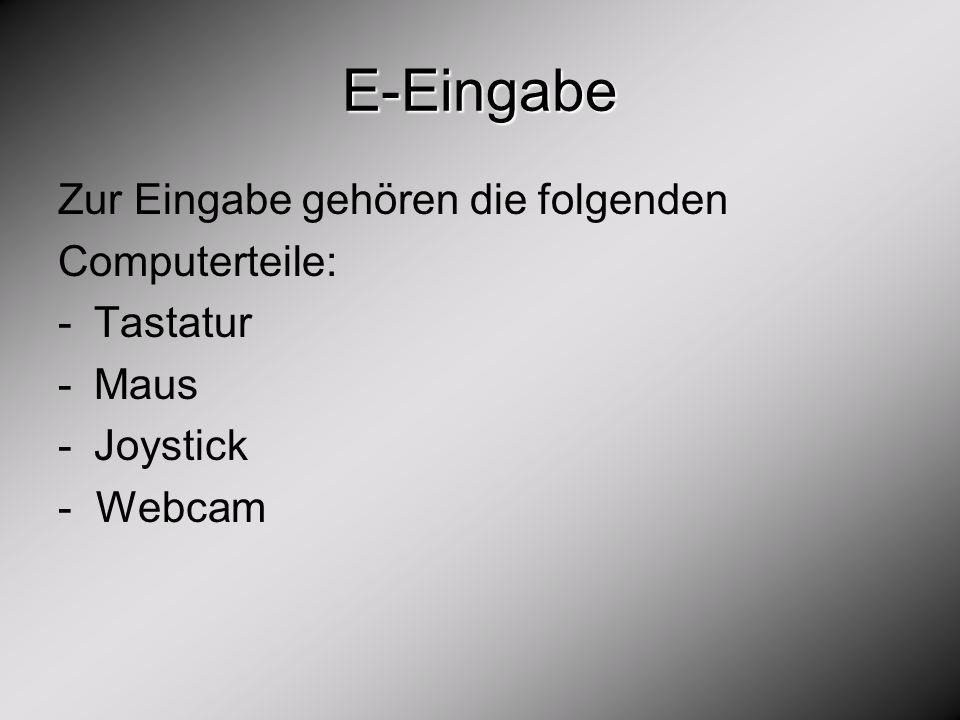 E-Eingabe Zur Eingabe gehören die folgenden Computerteile: Tastatur