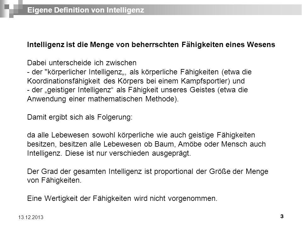 Eigene Definition von Intelligenz