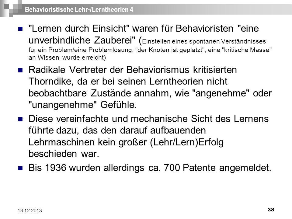 Behavioristische Lehr-/Lerntheorien 4