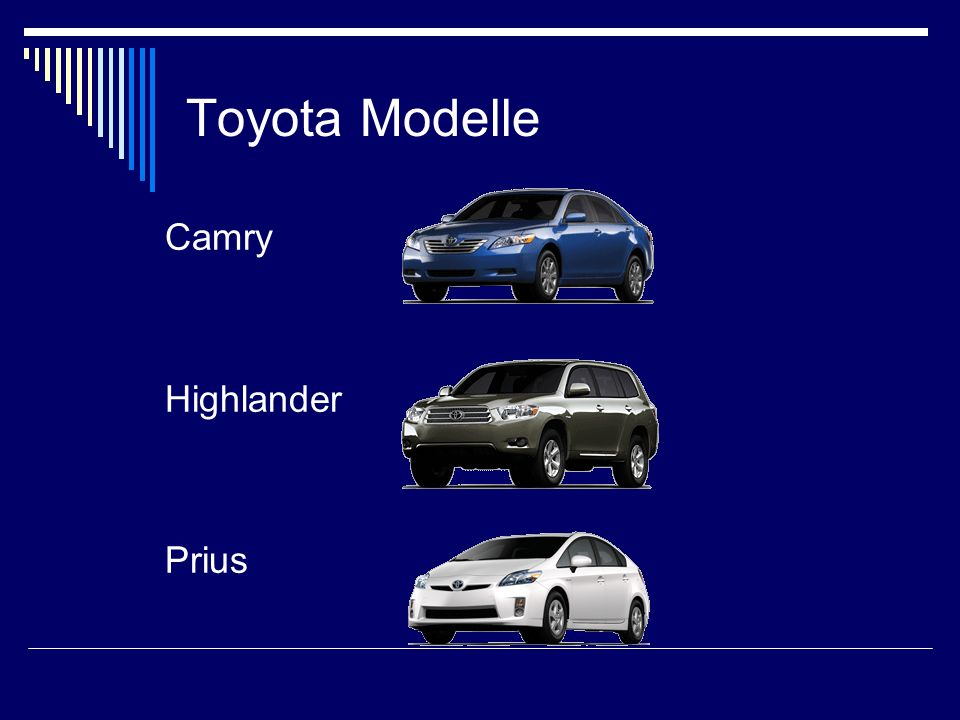 Toyota Modelle Camry. Highlander. Prius.
